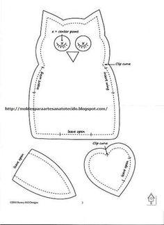 Moldes Para Artesanato em Tecido: Coruja Fofa com Molde