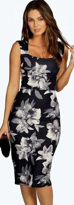 Bex Monochrome Floral Sweetheart Midi Dress - Dresses  - Street Style, Fashion Looks And Outfit Ideas For Spring And Summer 2017