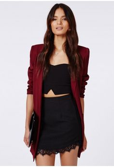 Lucindar Textured Curve Hem Lace Trim Mini Skirt Black - Mini Skirts - Missguided