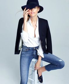 Photos via: J.Crew Loving Behati Prinsloo in this perfect preppy chic look with a gold buttoned...