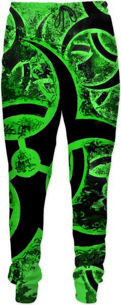 Green and black biohazard sign, bio waste, toxic fallout warning, symbol joggers, jogging pants design - item printed by RageOn.com, also available at casemiroarts.com