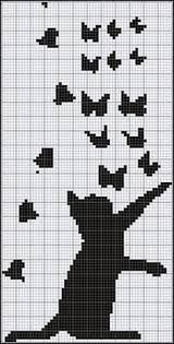 Super Ideas For Embroidery Cat Pattern Crafts Cat Cross Stitches, Cross Stitch Charts, Cross Stitch Designs, Cross Stitching, Cross Stitch Embroidery, Embroidery Patterns, Cross Stitch Patterns, Hand Embroidery, Knitting Charts