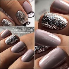 What manicure for what kind of nails? - My Nails Fabulous Nails, Gorgeous Nails, Pretty Nails, Perfect Nails, Mauve Nails, Glitter Nails, Silver Glitter, Gel Nails For Fall, Acrylic Nails With Glitter