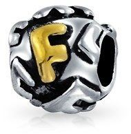 Bling Jewelry Initial Letter F Alphabet Bead Charm Gold Plated .925 Sterling Silver.