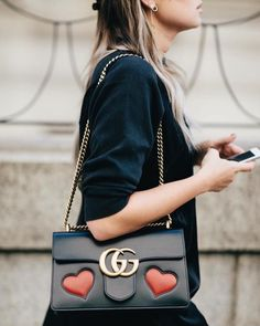 Black dress and bag with hearts - LadyStyle
