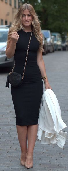 Search for black pencil dress at ASOS. Shop from over styles, including black pencil dress. Discover the latest women's and men's fashion online Black Pencil Skirt Outfit, Black Dress Outfits, Pencil Skirt Outfits, Casual Outfits, Fashion Outfits, Womens Fashion, Dress Black, Pencil Skirts, Work Outfits