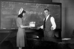 Wolfgang Pauli with a birthday cake