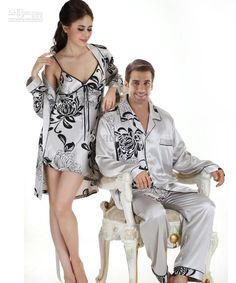 58e2230c0a8 Buy Elegant Noble Printed Long-sleeved Men s Satin Pajamas Sets Satin Silk Sleepwear  Mens Silk Pyjamas Autumn Home Clothes in Men s Pajama Sets on ...