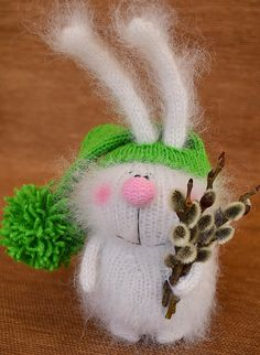 White Bunny with Willow toy Hand-knitted Rabbit Toy Amigurumi Bunny Miniature Animal Doll Stuffed Toy Bunny Plush bunny Easter decor toys by MiracleStore on Etsy