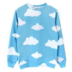 Clouds Sweatshirt [Pre-Order] ($93) ❤ liked on Polyvore featuring tops, hoodies, sweatshirts, celebrities, jumper, pullover, blue long sleeve top, long sleeve knit tops, crew neck sweat shirt and blue knit top