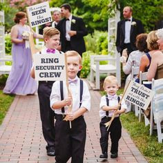 Ring Security Crew Set of 3 Signs | Funny Flags for Ring Bearers