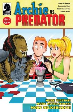 """""""Things are looking grim for Archie Andrews and the gang, as Archie vs. Predator #3 continues the Archie Elseworlds hot streak with a violent, funny, and emotional issue that sets up the series for a surely explosive finale."""" -Newsarama on Archie vs. Predator #3"""