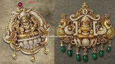 Fusion designer pendants bringing the traditional nakshi workmanship and diamonds in these divine temple jewellery Lakshmi pendants. Antique Jewellery Designs, Gold Jewellery Design, Designer Jewellery, India Jewelry, Temple Jewellery, South Indian Bridal Jewellery, Wedding Jewelry, Gold Pendent, Diamond Pendant