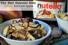 The best oatmeal recipe ever, nutella and fresh apples! Once you try it you will never go back to plain oatmeal again #nutella #Oatmeal #BreakfastRecipe #Health