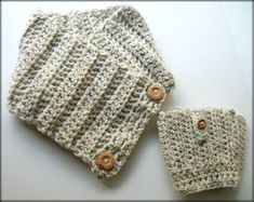 Boot Socks and Chunky Scarf Matching Set - Cream Wool - Buttons on Etsy, $44.00