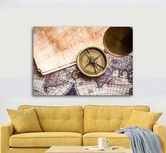 Πίνακας σε καμβά, τελαρωμένος  Πίνακας σε καμβά, τελαρωμένος  Εκτύπωση θέματος με ψηφιακή εκτύπωση σε καμβά 100% βαμβακερό  Τελάρο κουτί 4,5 cm Vintage Compass