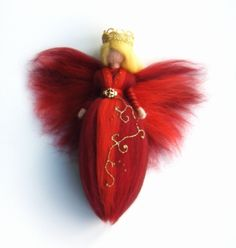 Needle Felted Wool Fairy Christmas Red Angel X-MAS Ornament Faeries Doll Soft Sculpture Wool Craft Waldorf Inspired. $26.00, via Etsy.