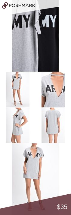 Army V Cut Out Tee - Black New Boutique brand Available in black or grey 48% rayon 48% polyester 34% spandex Feel free to ask me any questions Thanks for browsing my closet! Happy Poshing Tops Tees - Short Sleeve