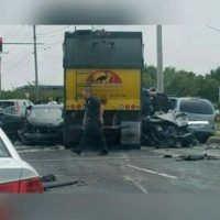 """Witnesses described a """"terrible"""" accident in Port Monmouth last night that involved a garbage truck and an ambulance. According to eyewitnesses, the truck failed to yield as the ambulance was exiting an area, colliding with it. From there it was said that the garbage truck hit four other cars and pushed one into a pole. [ ]"""