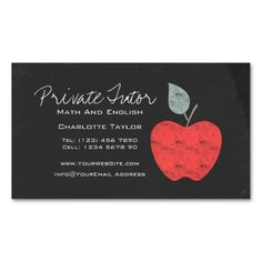 Teacher business card template with red apple i love this design private home tutor teacher apple chalkboard magnetic business card reheart Choice Image