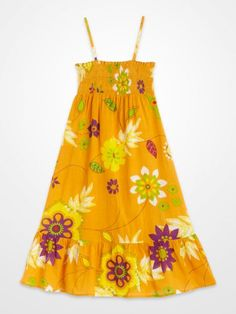 ca335ea28d5 Girls Yellow Smocked Floral Dress  kids  summer