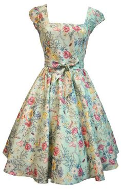 Lady Vintage 50s PALE BLUE VTG FLORAL Swing Dress, Rockabilly Sizes 8-22