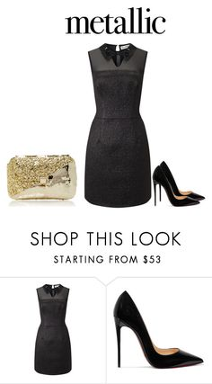 """""""Metallic dress"""" by rachd ❤ liked on Polyvore featuring Miss Selfridge, Christian Louboutin and Anndra Neen"""