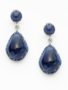 Dorie Love  Blue Agate & Sapphire Double Drop Earrings