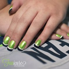 Check out these 12th man Fanicures (manicures and pedicures for the diehard Seahawks fan) by Gene Juarez.