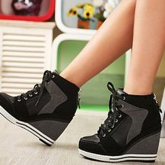 NYfashioncity womens suede sneaker platform high heels shoes lace ups casual Black wedge shoes Black Wedge Shoes, Black High Heels, Wedge Heels, Black Sneakers, Shoes Heels Wedges, Wedge Heel Sneakers, Shoes Sneakers, Sneakers Adidas, Black Booties