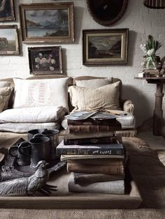 eclectic mix - boho bohemian chic rustic decor interior design home gypsy farmhouse cottage vintage couch living room frames gallery wall