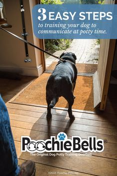 Communicate with your pooch when it's potty time. Easy steps to bell train your dog. via @KaufmannsPuppy