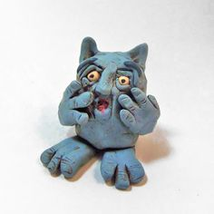 Polymer Clay Scared Blue Monster Crying Monster - Startled Blue Goblin Figurine by FantasyClayStore on Etsy