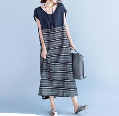 summer Long dress women Clothing dress in black / Brick by MaLieb