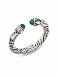 David Yurman - Green Onyx Sterling Silver Bangle Bracelet