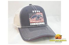 Duck Commadner Navy and White Flag Cap Mesh Velcro Adjustment (DHNWF)