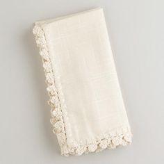 One of my favorite discoveries at WorldMarket.com: Ecru Crochet Trim Napkins, Set of 4