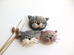 Cute Cat Brooch Felt Jewelry Handmade by felttess on Etsy