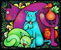 In 1979, Lynn Johnston began to draw For Better or For Worse comic strip. This is her painting of a group of cats and birds.