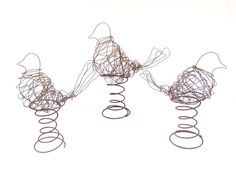 Set of 3 Wire Bird and Rusty Vintage Coil Spring Collage Sculptures