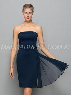 amandadress.com.au SUPPLIES Zipper-up Strapless Knee-Length Sheath/Column Rectangle Cocktail Natural Formal Dress Short Bridesmaid Dresses
