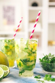 Mango Cilantro Mojitos via A House in the Hills
