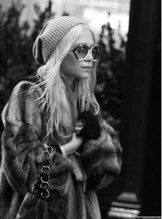 fur, slouched hat, sunnies