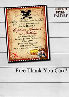 MICKEY MOUSE PIRATE Invitation Mickey by PerfectPixelFactory
