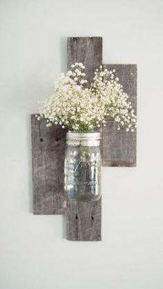 reclaimed+barn+wood+wall | Reclaimed Barn Wood Mason Jar Wall Vase by DesignsbyMJL on Etsy by Raelynn8 Floating Shelves, Gallery Wall, Floating Bookshelves