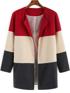 Shein Colour-block Long Sleeve Woolen Coat