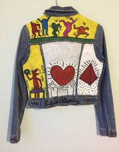 Custom Hand Painted Keith Haring Jean Jacket by OutOfMyLeague