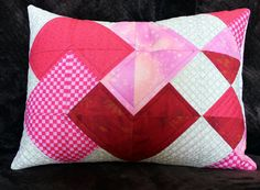 Quilted Patchwork Pillow  Heart Trick by PersimonDreams on Etsy, $26.00