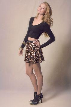 Leopard Print Skater Skirt from Haute Attitude