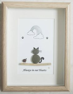 Pebble Art framed Picture Cat Always in our Hearts Sea Glass Crafts, Sea Glass Art, Shell Crafts, Pebble Painting, Pebble Art, Stone Painting, Stone Crafts, Rock Crafts, Pebble Pictures